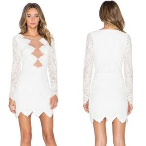 NWT For Love and Lemons White Lace Noir Mini Dress